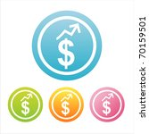 set of 4 colorful dollar signs