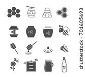 bee and honey icons set vector | Shutterstock .eps vector #701605693