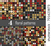 set of four seamless floral... | Shutterstock .eps vector #701623873