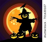 halloween pumpkin theme art... | Shutterstock .eps vector #701630107