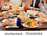 dishes with various seafood at... | Shutterstock . vector #701634433