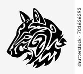wolf head tattoo design isolated | Shutterstock .eps vector #701636293