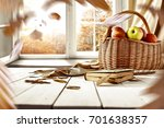 autumn window with golden... | Shutterstock . vector #701638357