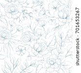 seamless vector floral pattern  ... | Shutterstock .eps vector #701653267