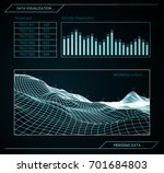 military blue radar. screen... | Shutterstock .eps vector #701684803