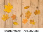autumn leaves background | Shutterstock . vector #701687083