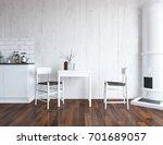 white kitchen room interior.... | Shutterstock . vector #701689057