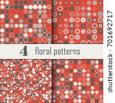 set of four seamless floral...   Shutterstock .eps vector #701692717