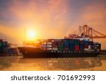 cargo container ship at in... | Shutterstock . vector #701692993
