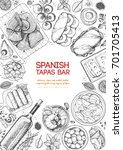 spanish tapas  top view frame.... | Shutterstock .eps vector #701705413