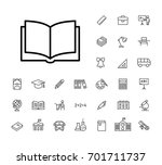 thin line book icon black on... | Shutterstock .eps vector #701711737