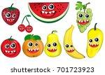 various happy fresh fruits... | Shutterstock .eps vector #701723923