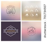 outline mountain icon set.... | Shutterstock .eps vector #701734507