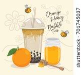 orange honey bubble tea vector | Shutterstock .eps vector #701745037