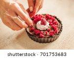 woman chef preparing chocolate... | Shutterstock . vector #701753683