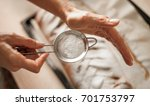 female chef finishing sweet... | Shutterstock . vector #701753797