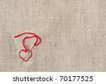 Linen Canvas With Red Heart...
