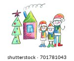happy family with house and... | Shutterstock . vector #701781043