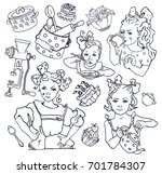 hand drawn sketch of four girls ... | Shutterstock .eps vector #701784307