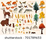 set of cute autumn forest... | Shutterstock .eps vector #701789653