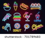 set food and drink neon sign.... | Shutterstock .eps vector #701789683
