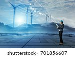 wind power plant. renewable... | Shutterstock . vector #701856607