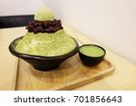 bingsu green tea with red bean  ... | Shutterstock . vector #701856643