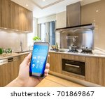 mobile phone with smart home... | Shutterstock . vector #701869867
