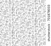 seamless pattern hand drawn... | Shutterstock .eps vector #701878033