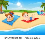 children sunbathing on the... | Shutterstock . vector #701881213