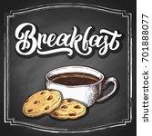 hand lettering good morning on... | Shutterstock .eps vector #701888077