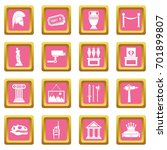 museum icons set in pink color... | Shutterstock .eps vector #701899807