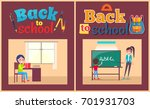 back to school poster with... | Shutterstock .eps vector #701931703