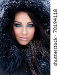Young Woman In A Snowy Furry...