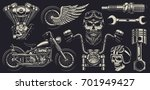 set of vintage custom... | Shutterstock . vector #701949427
