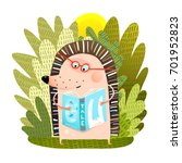 hedgehog reading book. cute... | Shutterstock .eps vector #701952823