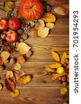 colorful leaves  pumpkin  nuts  ... | Shutterstock . vector #701954293