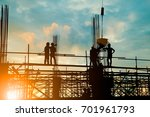 silhouette of engineer and... | Shutterstock . vector #701961793