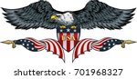 american eagle with usa flags | Shutterstock .eps vector #701968327
