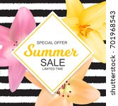 summer sale banner with lily... | Shutterstock .eps vector #701968543