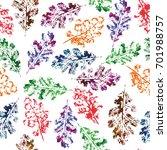 watercolor autumn leaves... | Shutterstock . vector #701988757