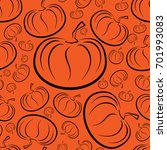 outline pumpkins seamless... | Shutterstock . vector #701993083