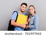 portrait of two student male... | Shutterstock . vector #701997043