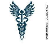 caduceus symbol made using bird ... | Shutterstock . vector #702005767