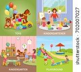 kindergarten flat design... | Shutterstock .eps vector #702007027