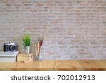 mock up wood desk work modern... | Shutterstock . vector #702012913