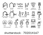 vector set of thin line icons... | Shutterstock .eps vector #702014167