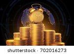 alarm clock with golden coins.... | Shutterstock . vector #702016273