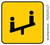 children playground sign yellow.... | Shutterstock .eps vector #702025117