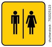 wc toilet sign yellow. vector. | Shutterstock .eps vector #702025123